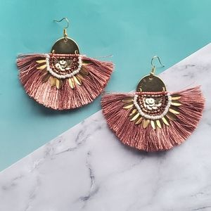 Gold And Pink Fan Earrings
